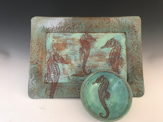 sea horse tray in aqua & mint