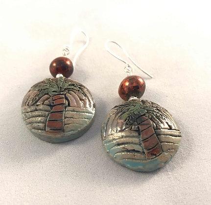 Raku Palm Tree Earrings with Copper Beads