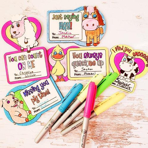 DIY Kids Valentines Kit - Animals