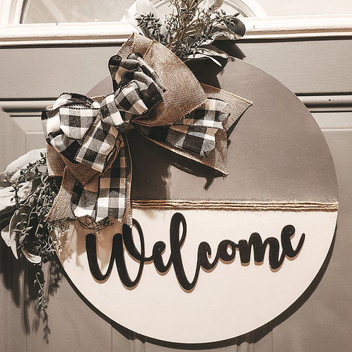 """18"""" Welcome Round Door Hanger w/ Bow"""