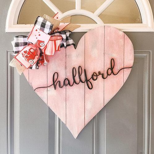 """Personalized Heart Door Hanger - 18"""""""