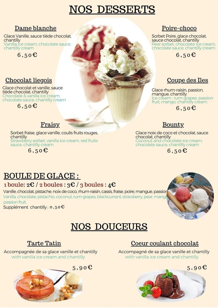 Toetjes menu