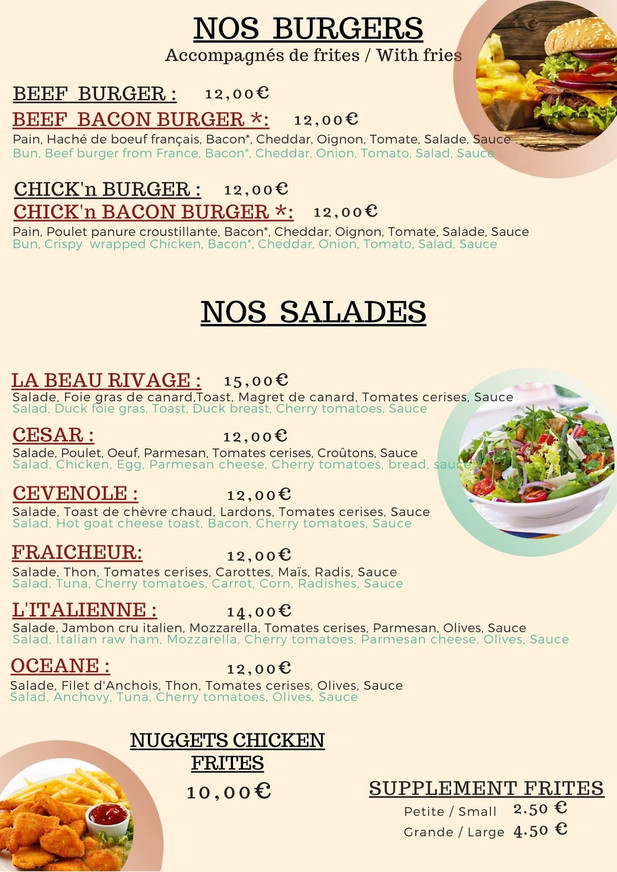 burger salad menu