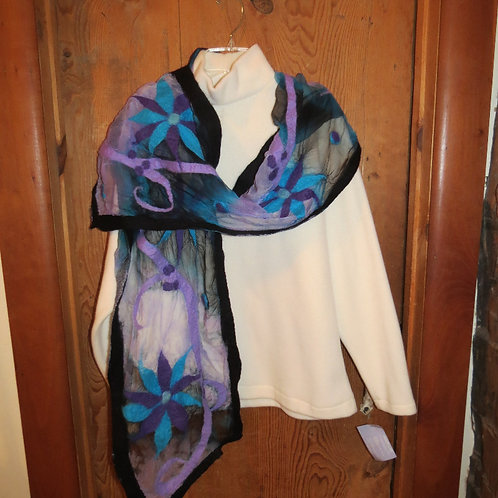 Black and Blue flower Felted Scarf