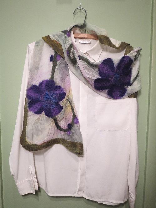 Purple Flower Felted Scarf