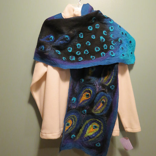Peacock Felted Scarf