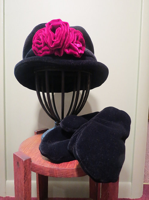 Victorian Hat with Silk or Felted Flower