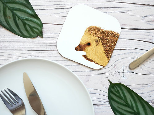 Silverpasta illustrated animal 10cm coaster featuring hedgehog