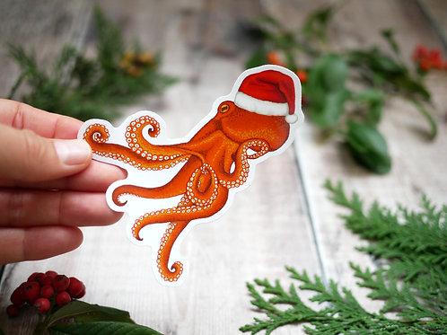 Silverpasta christmas octopus wearing santa hat vinyl sticker 10cm