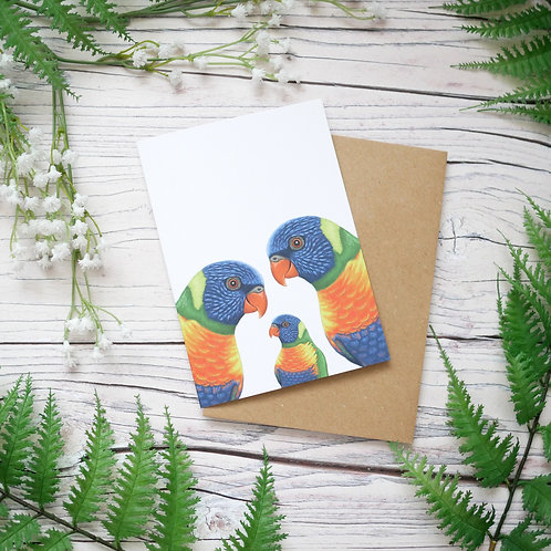 Rainbow lorikeet new baby card made from 100% recycled paper designed by Jess Smith from Silverpasta Crafts