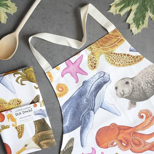 Marine Animals Apron and Tea Towel Set