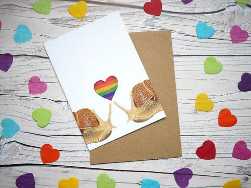 Rainbow LGBT Valentine's day snail card by Silverpasta Crafts