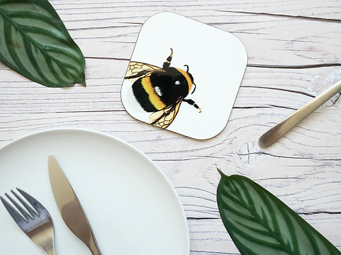 Silverpasta illustrated animal 10cm coaster featuring bumblebee