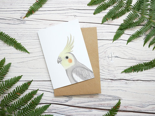 Illustrated cockatiel greetings card made from 100% recycled card and plastic-free wrapper