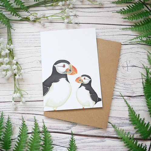 Mother's day puffins card made from 100% recycled paper designed by Jess Smith from Silverpasta Crafts