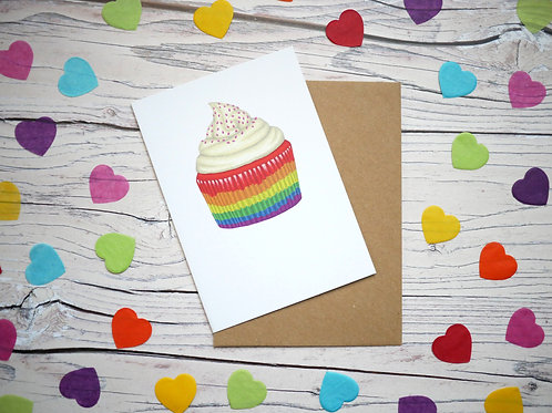 Rainbow Cupcake Greetings Card