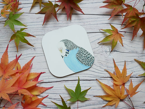 Blue budgie illustrated coaster by Silverpasta Crafts