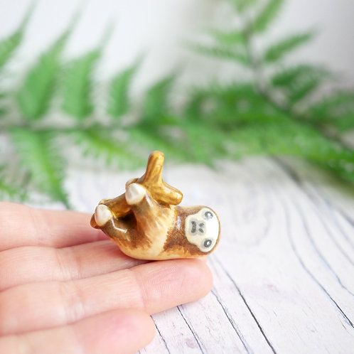 Handmade tiny sloth ornament by Jess Smith from Silverpasta Crafts