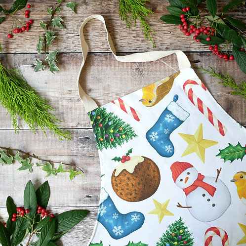 Christmas apron made from 100% cotton designed by Silverpasta Crafts