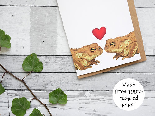 Silverpasta illustrated valentine's card recycled paper two common toads with a red heart plastic free packaging