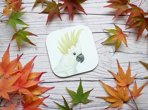 Sulphur Crested cockatoo illustrated coaster by Silverpasta Crafts
