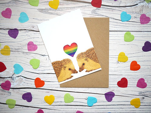 Rainbow LGBT gay hedgehogs valentine's day card by silverpasta crafts