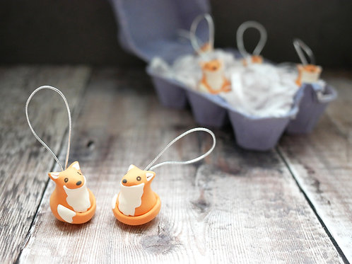 Silverpasta handmade fox Christmas tree decoration made from air dry clay and egg box plastic-free packaging