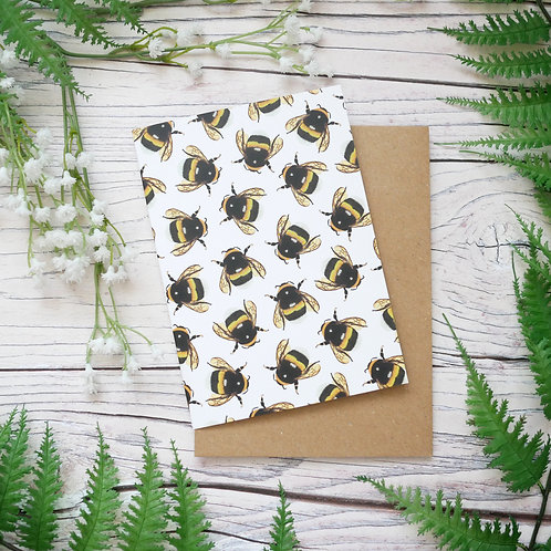 Silverpasta illustrated animal greetings card made from recycled paper featuring bumblebees with plastic free packaging