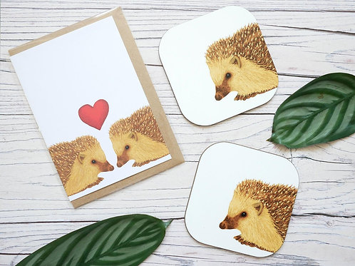 Hedgehog valentine's day card made from recycled paper and two matching coasters by Silverpasta