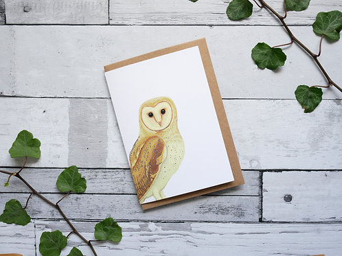 Silverpasta illustrated animal greetings card made from recycled paper featuring a barn owl with plastic free packaging
