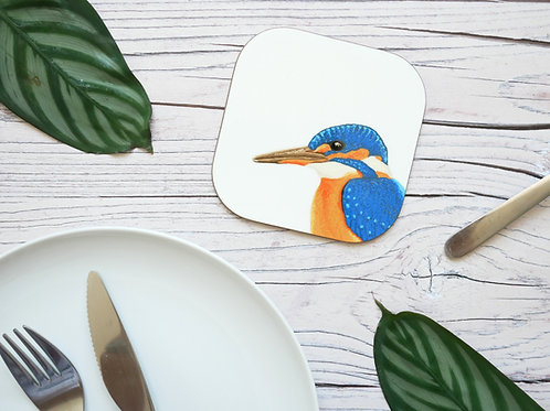 Silverpasta illustrated animal 10cm coaster featuring kingfisher