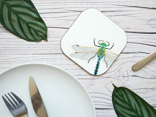 Silverpasta illustrated animal 10cm coaster featuring dragonfly