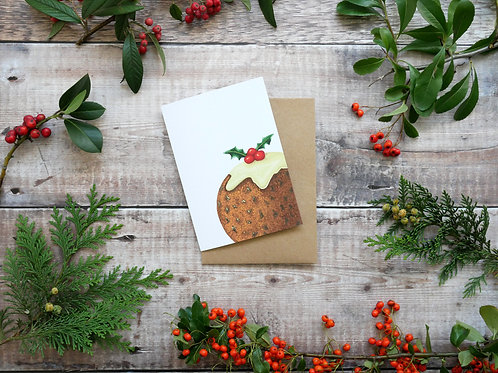 Illustrated festive pudding Christmas card made from recycled paper and eco friendly plastic-free wrapper