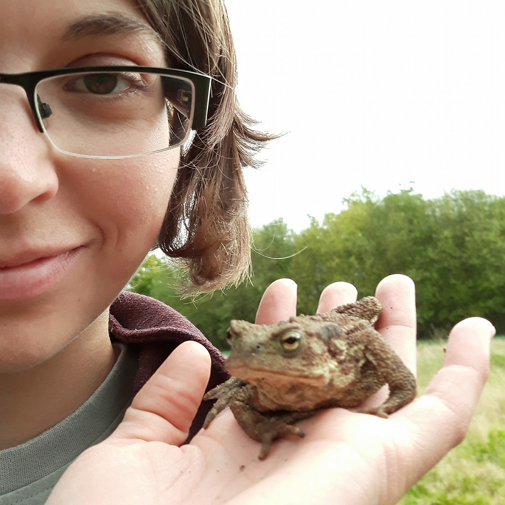 Woman ecologist artist holding a toad