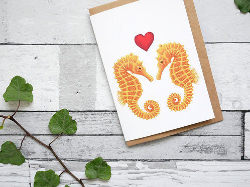 Silverpasta illustrated valentine's card recycled paper two seahorses with a red heart plastic free packaging