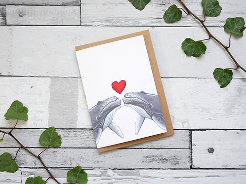 Silverpasta illustrated valentine's card recycled paper two whales with a red heart plastic free packaging