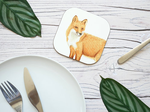 Silverpasta illustrated animal 10cm coaster featuring fox