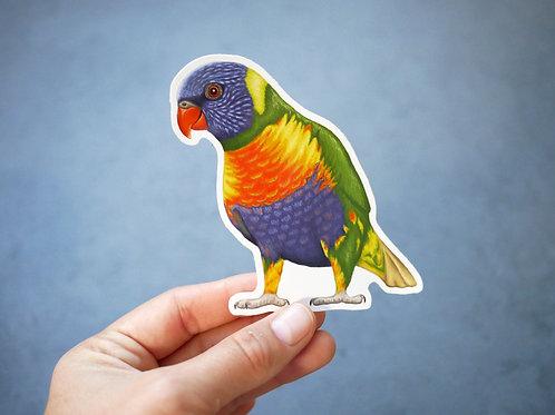 Silverpasta rainbow lorikeet parrot vinyl sticker 10cm