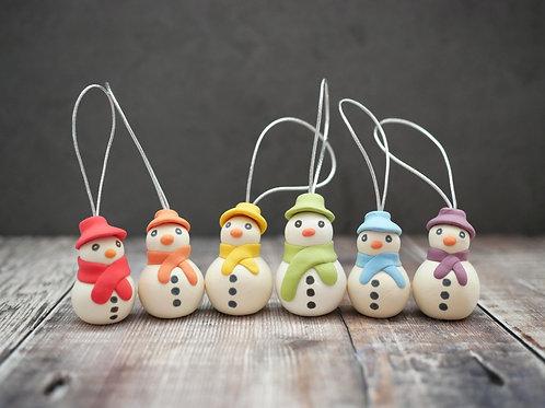 Handmade Rainbow Snowmen Christmas Tree Decorations