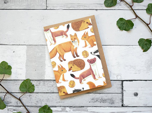 Silverpasta illustrated animal greetings card made from recycled paper featuring british mammals with plastic free packaging