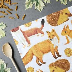 Illustrated mammal animal tea towel