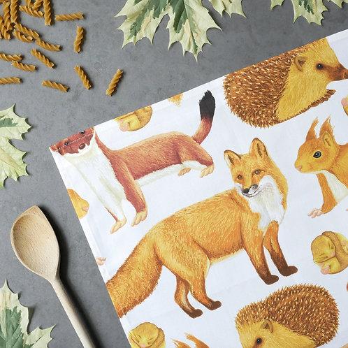 Silverpasta cotton tea towel featuring british wildlife mammals fox squirrel stoat hedgehog dormouse badger
