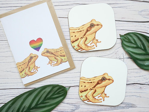 Frogs Card & Coaster Set
