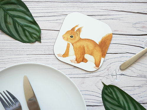 Silverpasta illustrated animal 10cm coaster featuring red squirrel