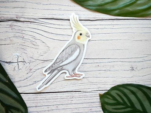 silverpasta cockatiel parrot bird vinyl sticker 10cm