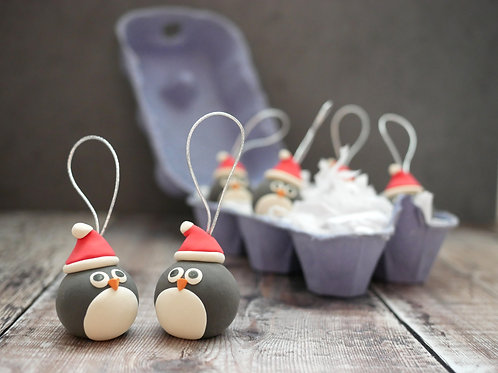 Silverpasta handmade penguin Christmas tree decoration made from air dry clay and egg box plastic-free packaging
