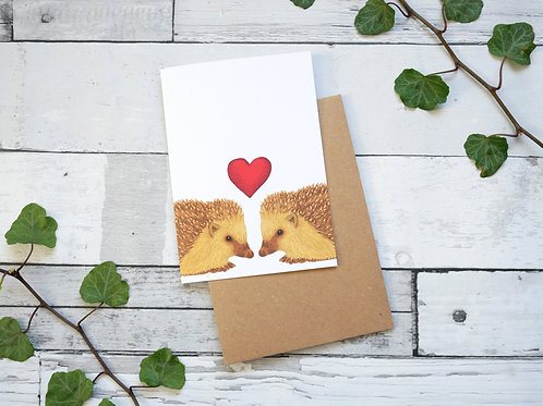 Silverpasta illustrated valentine's card recycled paper two hedgehogs with a red heart plastic free packaging