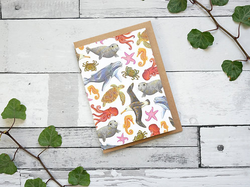 Silverpasta illustrated animal greetings card made from recycled paper featuring marine creatures with plastic free packaging
