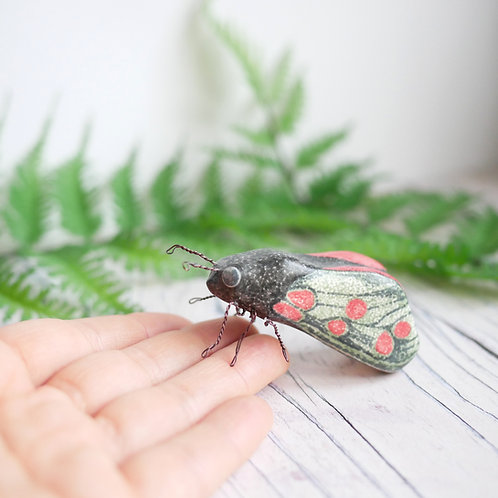 Six Spot burnet moth ornament made from air dry clay by Silverpasta Crafts