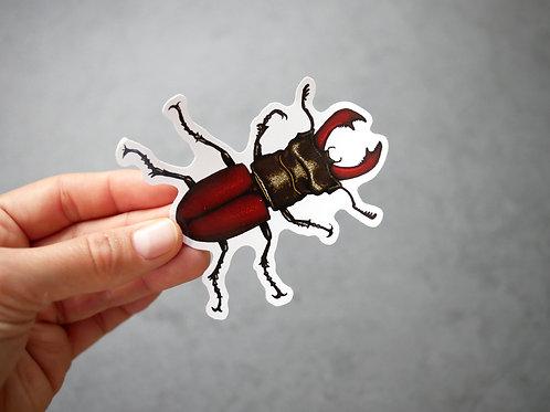 Silverpasta stag beetle vinyl 10cm sticker